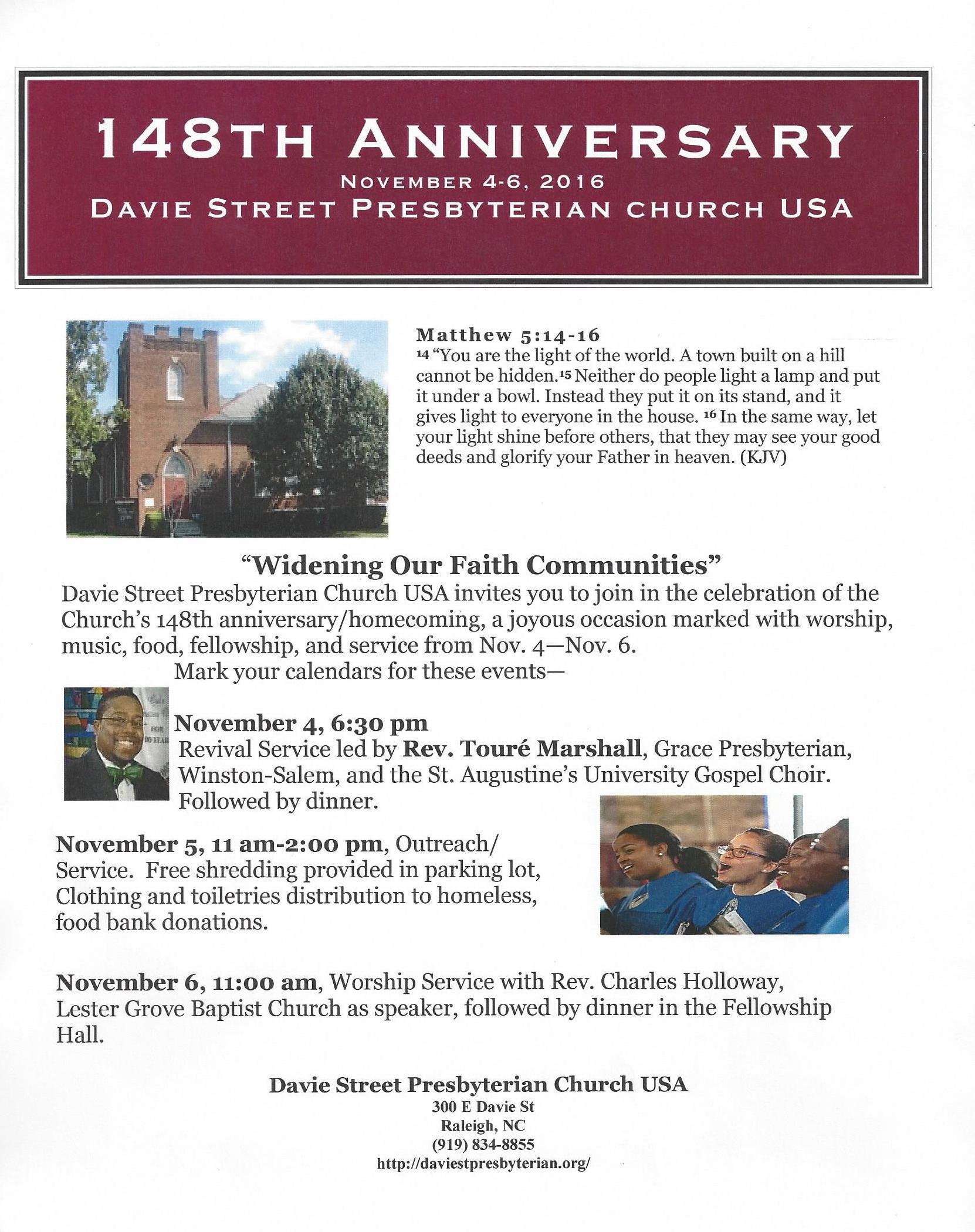 148th Church Anniversary | Davie Street Presbyterian Church